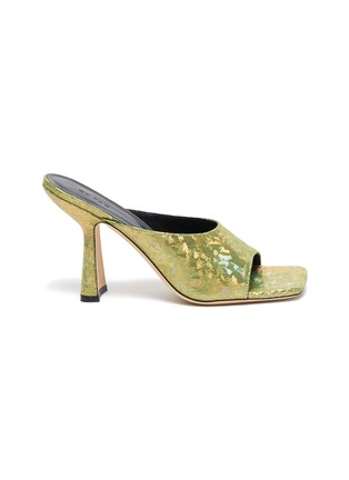 Main View - Click To Enlarge - BY FAR - Zaya' Holographic Leather Square Toe Heeled Sandals
