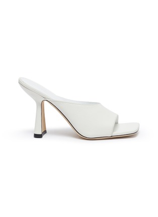 Main View - Click To Enlarge - BY FAR - Zaya' Single Band Square Toe Leather Heeled Sandals
