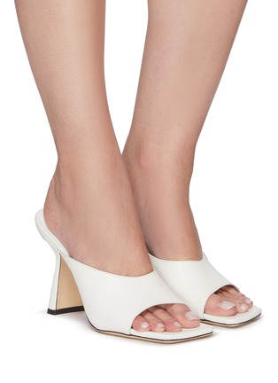 Figure View - Click To Enlarge - BY FAR - Zaya' Single Band Square Toe Leather Heeled Sandals