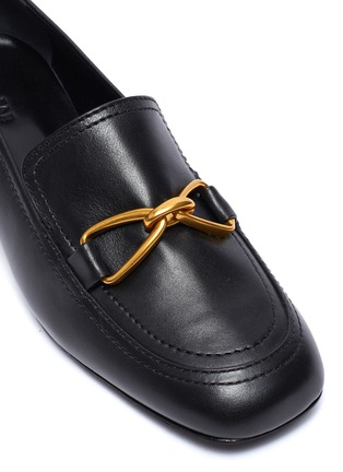 Detail View - Click To Enlarge - BY FAR - Lino' gold-tone hardware square toe heeled leather loafers