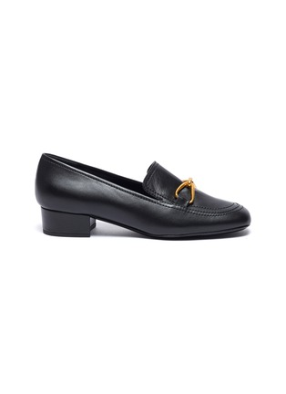 Main View - Click To Enlarge - BY FAR - Lino' gold-tone hardware square toe heeled leather loafers