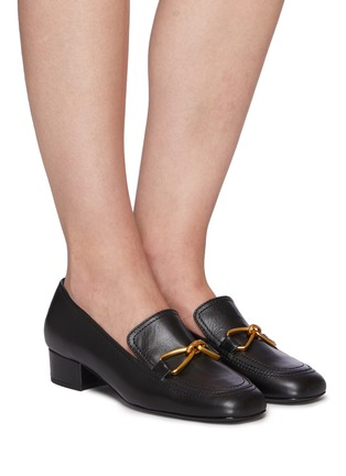 Figure View - Click To Enlarge - BY FAR - Lino' gold-tone hardware square toe heeled leather loafers
