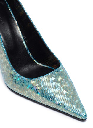 Detail View - Click To Enlarge - BY FAR - Viva' Mesh Overlay Holographic Leather Point Toe Pumps