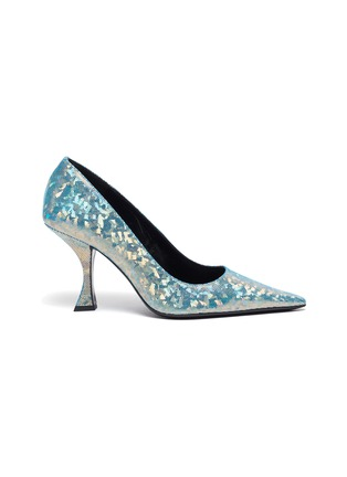 Main View - Click To Enlarge - BY FAR - Viva' Mesh Overlay Holographic Leather Point Toe Pumps