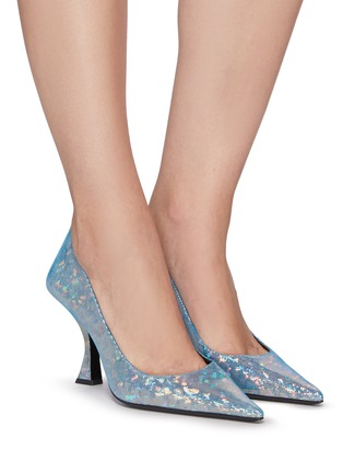 Figure View - Click To Enlarge - BY FAR - Viva' Mesh Overlay Holographic Leather Point Toe Pumps