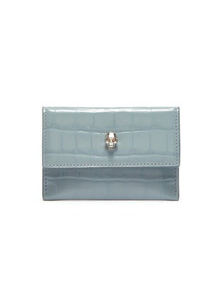 Main View - Click To Enlarge - ALEXANDER MCQUEEN - Skull croc embossed leather envelope card holder