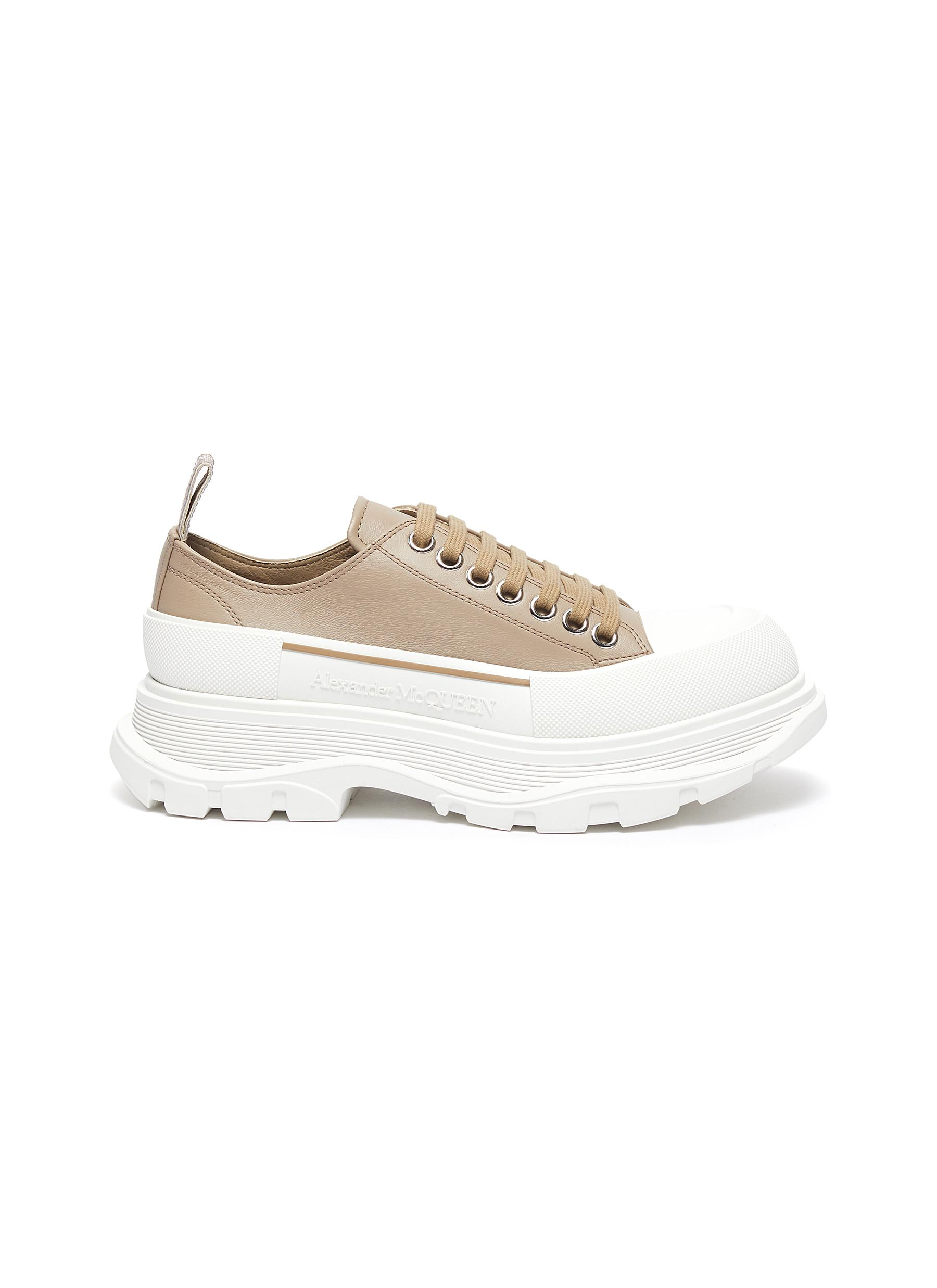 Chunky Sole Leather Slick Sneakers