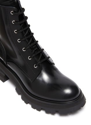 Detail View - Click To Enlarge - ALEXANDER MCQUEEN - 'Wander' spazzolato leather combat boots