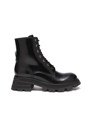 Main View - Click To Enlarge - ALEXANDER MCQUEEN - 'Wander' spazzolato leather combat boots