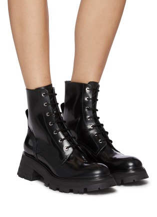 Figure View - Click To Enlarge - ALEXANDER MCQUEEN - 'Wander' spazzolato leather combat boots