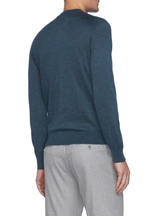 Back View - Click To Enlarge - BRIONI - Cashmere-silk blend logo embroidered sweater