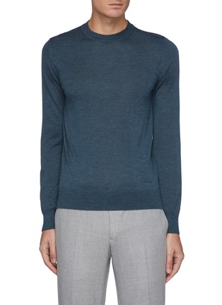 Main View - Click To Enlarge - BRIONI - Cashmere-silk blend logo embroidered sweater