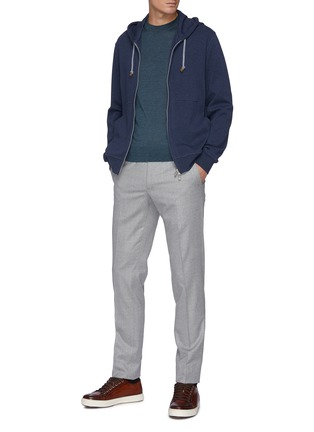 Figure View - Click To Enlarge - BRIONI - Cashmere-silk blend logo embroidered sweater