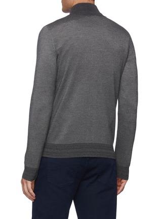 Back View - Click To Enlarge - BRIONI - Cashmere Silk Knit Bi-colour Honeycomb Jacket