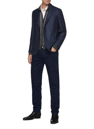 Figure View - Click To Enlarge - BRIONI - Cashmere Silk Knit Bi-colour Honeycomb Jacket