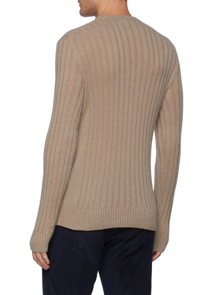 Back View - Click To Enlarge - BRIONI - Leather Label Cash Sweater with Seamless Ribs