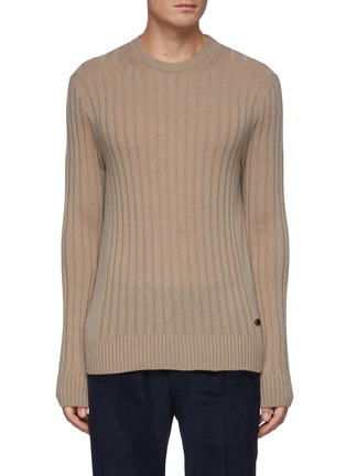 Main View - Click To Enlarge - BRIONI - Leather Label Cash Sweater with Seamless Ribs