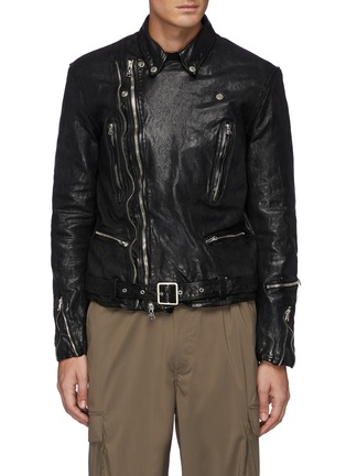 Main View - Click To Enlarge - THE VIRIDI-ANNE - Belted Biker Jacket
