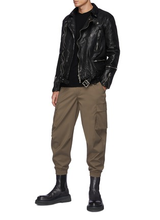 Figure View - Click To Enlarge - THE VIRIDI-ANNE - Belted Biker Jacket