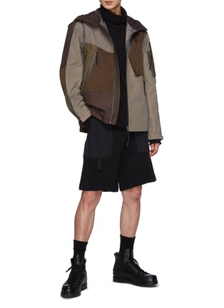 Figure View - Click To Enlarge - THE VIRIDI-ANNE - Asymmetrically Fragmented Zip Up Hooded Nylon Mountain Jacket