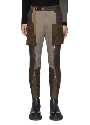 Main View - Click To Enlarge - THE VIRIDI-ANNE - Belt Detail Front Zip Panelled Tactical Pants