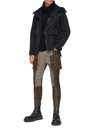 Figure View - Click To Enlarge - THE VIRIDI-ANNE - Belt Detail Front Zip Panelled Tactical Pants