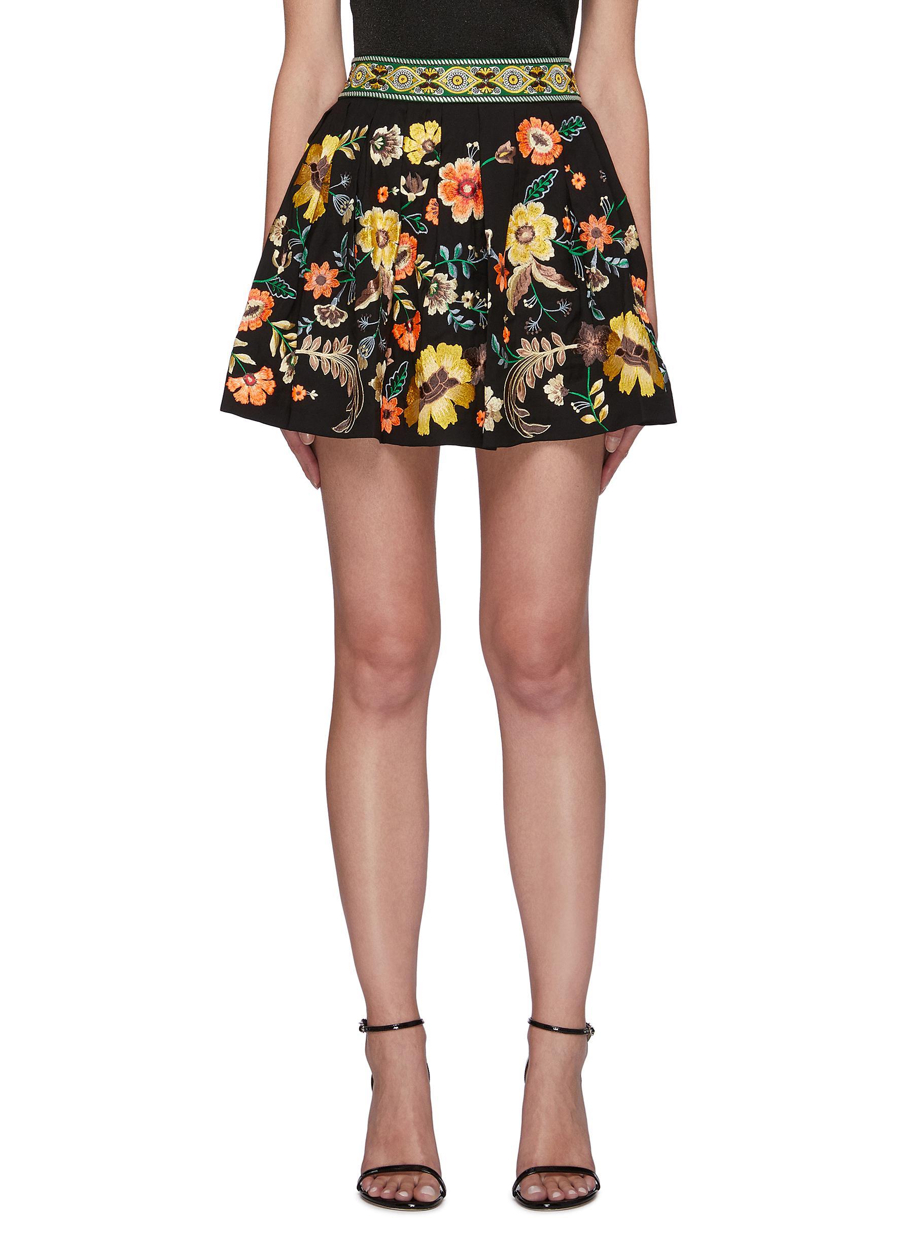 Fizer' Jacquard Waistband Floral Embroidered Mini Skirt - ALICE + OLIVIA - Modalova