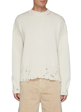 Main View - Click To Enlarge - MARNI - Distressed logo stitched neck sweater