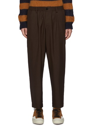 Main View - Click To Enlarge - MARNI - Pleated elastic waist cropped gabardine tapered pants