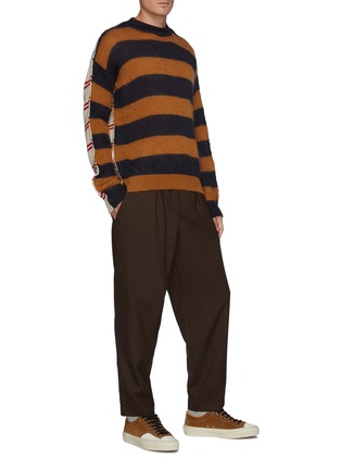 Figure View - Click To Enlarge - MARNI - Pleated elastic waist cropped gabardine tapered pants