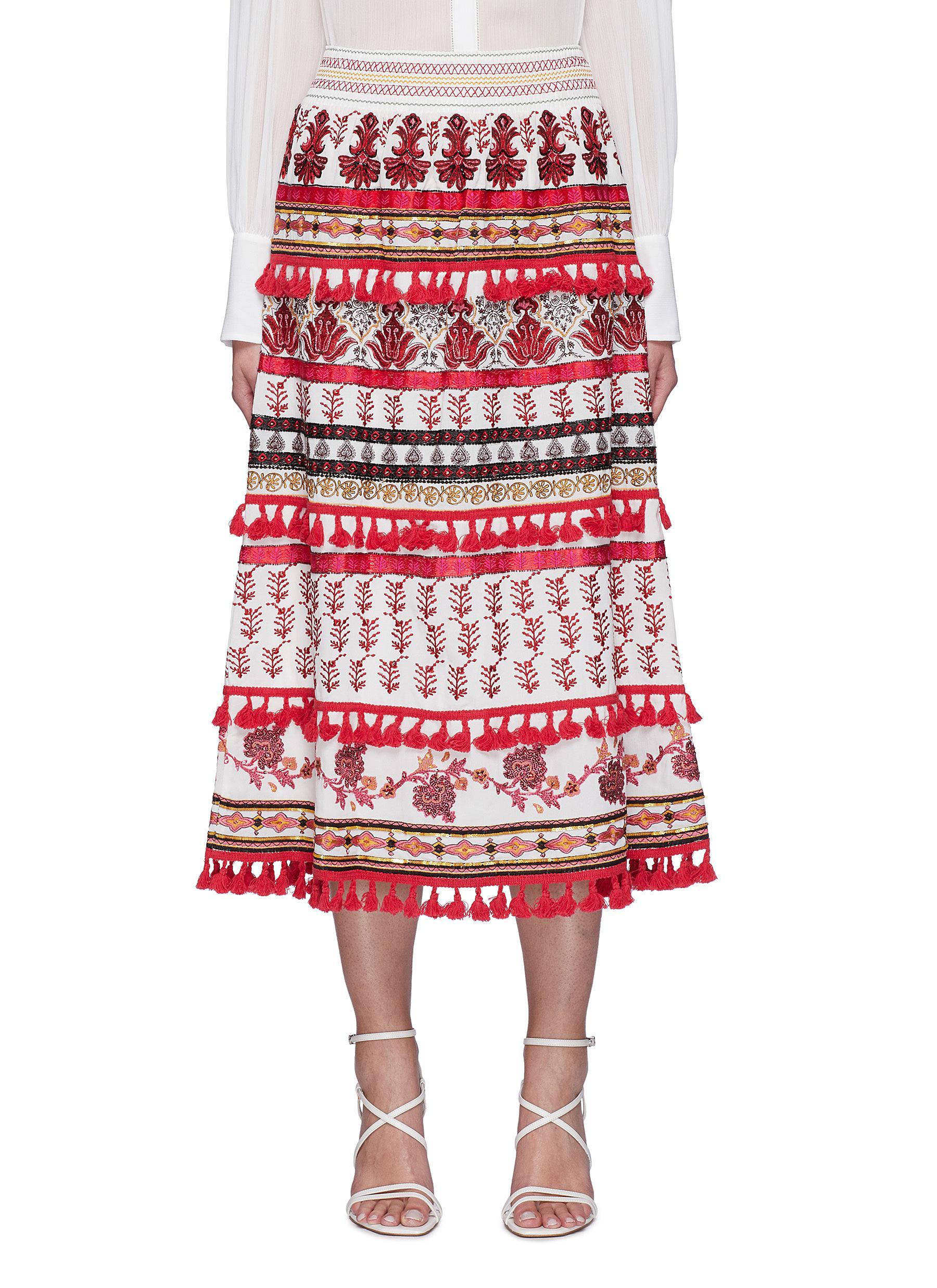Cassie' embroidered tassel detail midi skirt - ALICE + OLIVIA - Modalova
