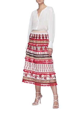 Figure View - Click To Enlarge - ALICE + OLIVIA - Cassie' embroidered tassel detail midi skirt