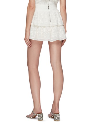 Back View - Click To Enlarge - ALICE + OLIVIA - 'Jojo' Floral Embroidered Double Layer Ruffle Mini Skirt