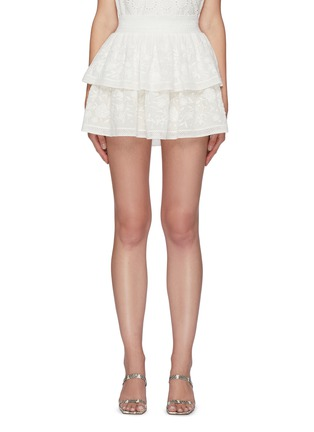 Main View - Click To Enlarge - ALICE + OLIVIA - 'Jojo' Floral Embroidered Double Layer Ruffle Mini Skirt