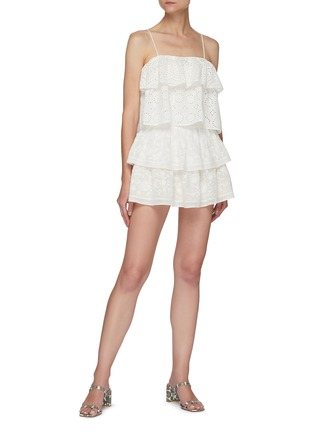 Figure View - Click To Enlarge - ALICE + OLIVIA - 'Jojo' Floral Embroidered Double Layer Ruffle Mini Skirt