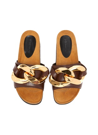 Detail View - Click To Enlarge - JW ANDERSON - Chunky chain leather slides