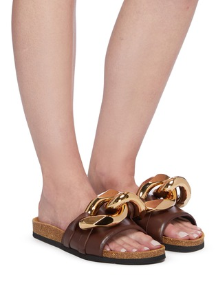 Figure View - Click To Enlarge - JW ANDERSON - Chunky chain leather slides