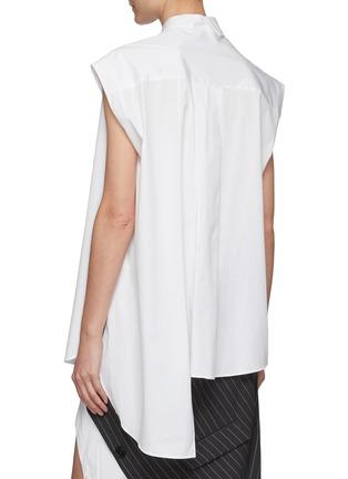 Back View - Click To Enlarge - MONSE - Asymmetric Sleeveless Cotton Poplin Shirt