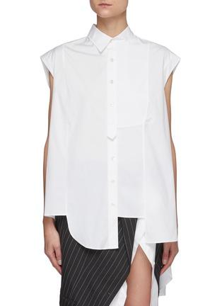 Main View - Click To Enlarge - MONSE - Asymmetric Sleeveless Cotton Poplin Shirt