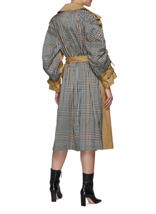 Back View - Click To Enlarge - MONSE - Drawstring Detail Plaid Back Belted Trench Coat