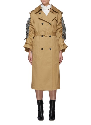 Main View - Click To Enlarge - MONSE - Drawstring Detail Plaid Back Belted Trench Coat