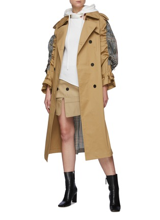 Figure View - Click To Enlarge - MONSE - Drawstring Detail Plaid Back Belted Trench Coat