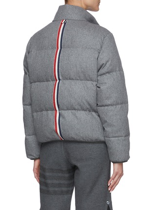 Back View - Click To Enlarge - THOM BROWNE - Reversible Back Tricolour Stripe Wool Cashmere Blend Puffer Jacket