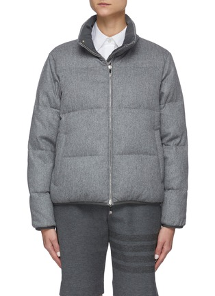 Main View - Click To Enlarge - THOM BROWNE - Reversible Back Tricolour Stripe Wool Cashmere Blend Puffer Jacket