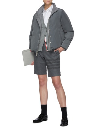 Figure View - Click To Enlarge - THOM BROWNE - Reversible Back Tricolour Stripe Wool Cashmere Blend Puffer Jacket