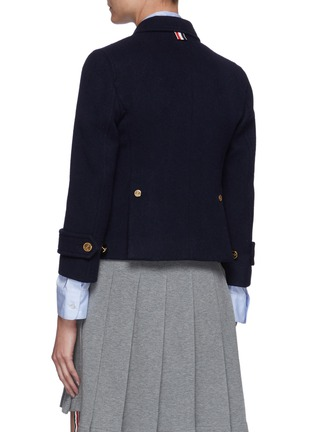 Back View - Click To Enlarge - THOM BROWNE - Downsized Military Double Breasted Cashmere Peacoat