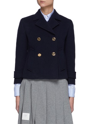Main View - Click To Enlarge - THOM BROWNE - Downsized Military Double Breasted Cashmere Peacoat