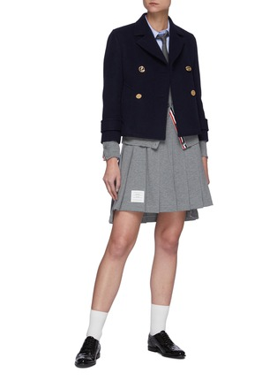 Figure View - Click To Enlarge - THOM BROWNE - Downsized Military Double Breasted Cashmere Peacoat