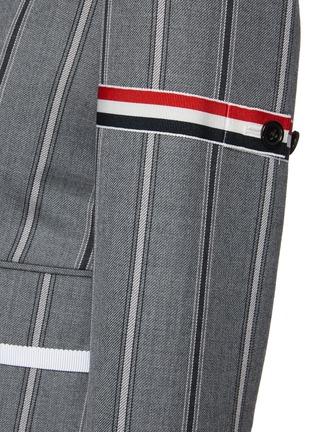 - THOM BROWNE - Tricolour Stripe Detail Striped Single-breast Wool Blazer