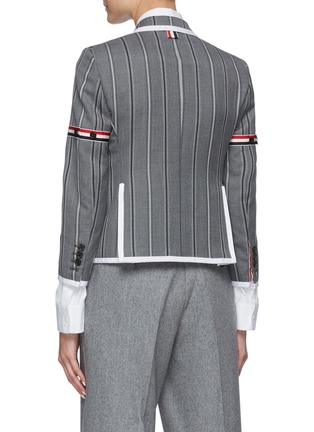 Back View - Click To Enlarge - THOM BROWNE - Tricolour Stripe Detail Striped Single-breast Wool Blazer